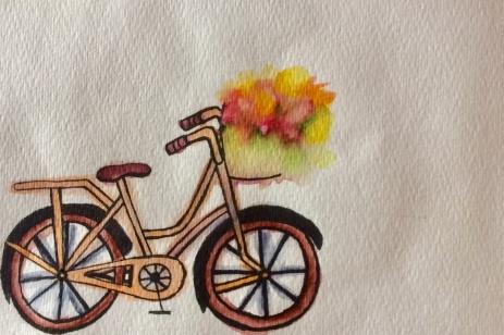 Flowers in a bike basket