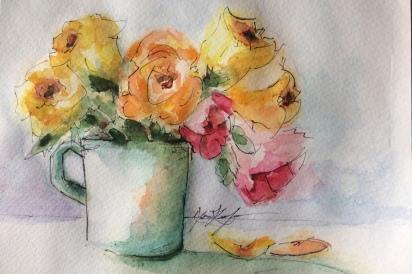 Coffee cup flowers
